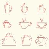 Teetassen und Teekannen Lizenzfreies Stockbild