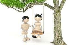 Teeter. Young lovers teetering. 3d model Royalty Free Stock Photography