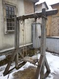 Teeter. The scenery of snow-covered slave barracks in the sovereign Russia. royalty free stock photos