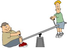 Teeter Totter. This illustration depicts 2 boys playing on a teeter totter Royalty Free Stock Image