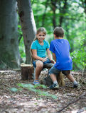 Teeter-totter in wood Royalty Free Stock Photo