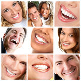 Teeth. Healthy man and  woman teeth Stock Photos