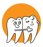 Teeth. White healthy teeth are smiling, hugging, happy are not ill Stock Image