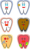 Teeth. Six designs of a tooth. Two are happy and healthy. The rest are either cracked, stained, decayed, or in pain Royalty Free Stock Photography