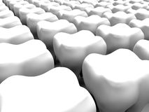 Teeth abstract background. 3D rendered illustration of a background composed of multiple 3D tooth models. The 3D models are positioned on a white background with Royalty Free Stock Photos