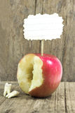 Teeth against red apple Stock Photo