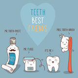 Teeth best friends - tooth past, tooth brush and Stock Photos