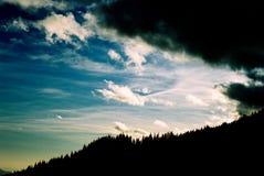 Teeth of a black dragon. Trees and sky from Piatra Craiului - Romania stock photo