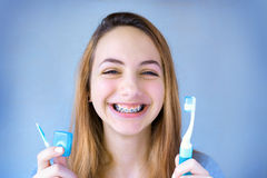 Teeth with braces. Stock Photo