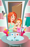 Teeth brushing. Mammy is brushing her daughter's teeth stock illustration