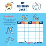 Teeth Brushing Incentive Chart. Teeth cleaning, child dental poster thin line art icons. Vector illustration Stock Photos