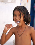 Teeth brushing. India Royalty Free Stock Photography