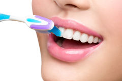 Teeth brushing. White healthy teeth Royalty Free Stock Photos