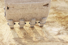 Teeth on a bulldozer scoop Royalty Free Stock Images
