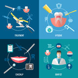 Teeth care. Dental services vector concepts set Stock Images