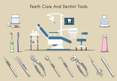 Teeth care and dentist tools Royalty Free Stock Image