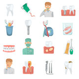 Teeth care set color flat icons for web and mobile design Royalty Free Stock Photography