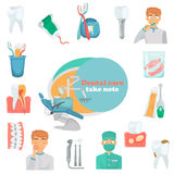 Teeth care set color flat icons for web and mobile design. Dental service icons Stock Photo