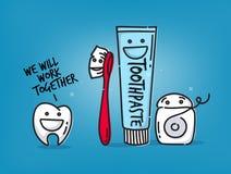 Teeth cartoons blue Royalty Free Stock Images