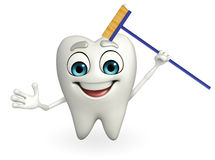 Teeth character with cleaner mop Stock Photo