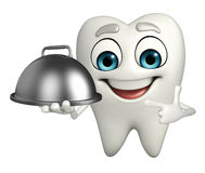 Teeth character with dish pan Royalty Free Stock Photo