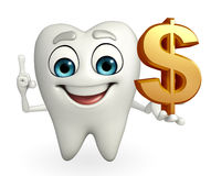 Teeth character with dollar sign Stock Image