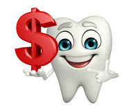 Teeth character with dollar sign Stock Photo