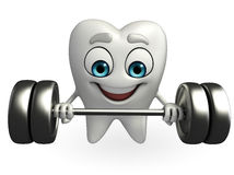 Teeth character with dumbbells Royalty Free Stock Photography