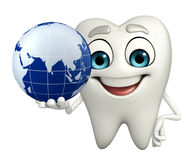 Teeth character with globe Stock Photos