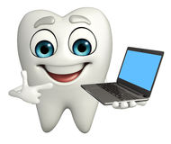 Teeth character with Laptop Royalty Free Stock Images