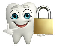 Teeth character with lock Royalty Free Stock Image