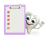 Teeth character with notepad Royalty Free Stock Photography