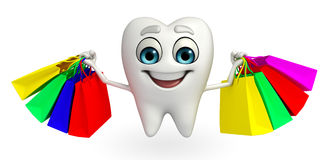 Teeth character with shopping bag Royalty Free Stock Images