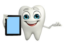 Teeth character with tab Royalty Free Stock Image