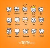Teeth characters orange Stock Photography