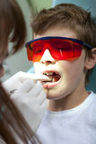 Teeth checkup at dentist's office Stock Photo