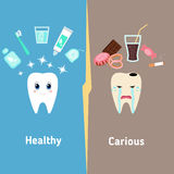 Teeth cleaning. Dental cartoon vector, compare healthy and unhealthy teeth. Concept of healthy teeth Stock Photography