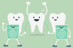 Teeth cleaning by dental floss. Dental cartoon vector, teeth cleaning by dental floss Royalty Free Stock Images