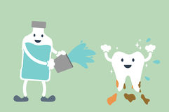Teeth cleaning by mouthwash Stock Photography