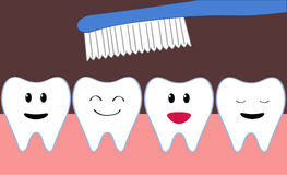 Teeth cleaning. Row of cartoon happy teeth during brushing Royalty Free Stock Photography