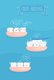 Teeth comics about brushing, vector Royalty Free Stock Image