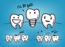 Teeth cool blue cartoons Royalty Free Stock Images