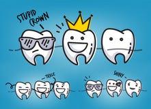Teeth cool cartoons blue Royalty Free Stock Image