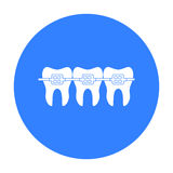 Teeth with dental braces icon in black style isolated on white background. Dental care symbol stock vector illustration. Teeth with dental braces icon in black royalty free illustration
