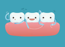 Teeth with dental floss for healthcare Stock Images