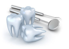 Teeth and dental instruments. On white Stock Photography