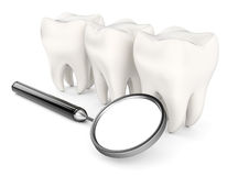 Teeth and dental mirror. On white background. 3d rendering image Stock Photo