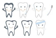 Teeth and dental symbols isolated Royalty Free Stock Photo