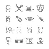 Teeth, dentistry medical line icons Royalty Free Stock Photography