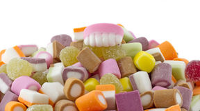Teeth on Dolly Mixture Stock Photography